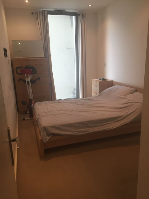 Bedroom (exercise bike will be removed) 2 bedside tables, chest of drawers and wardrobe available