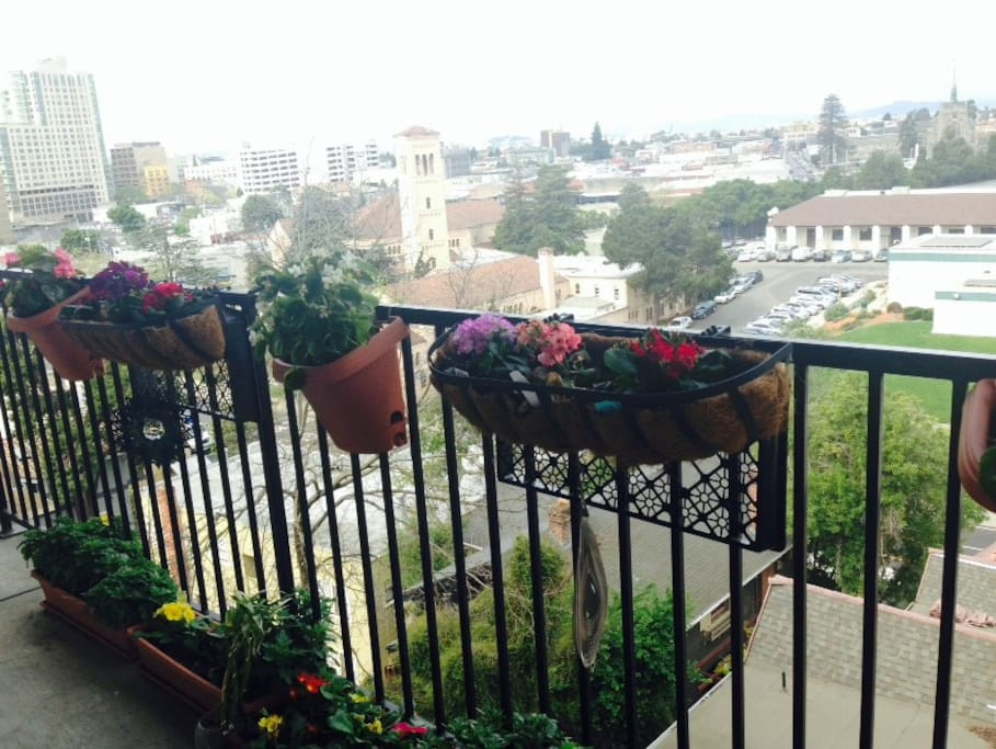 Balcony with view of downtown