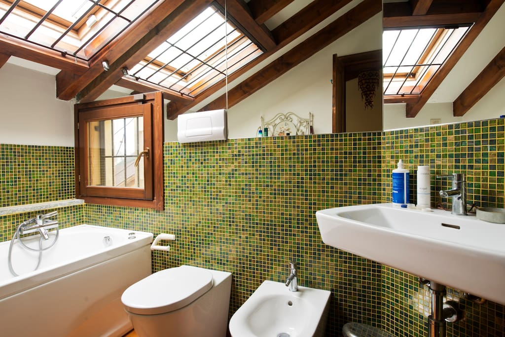 Master ensuite bathroom with Jacuzzi, skylight, window on the terrace.