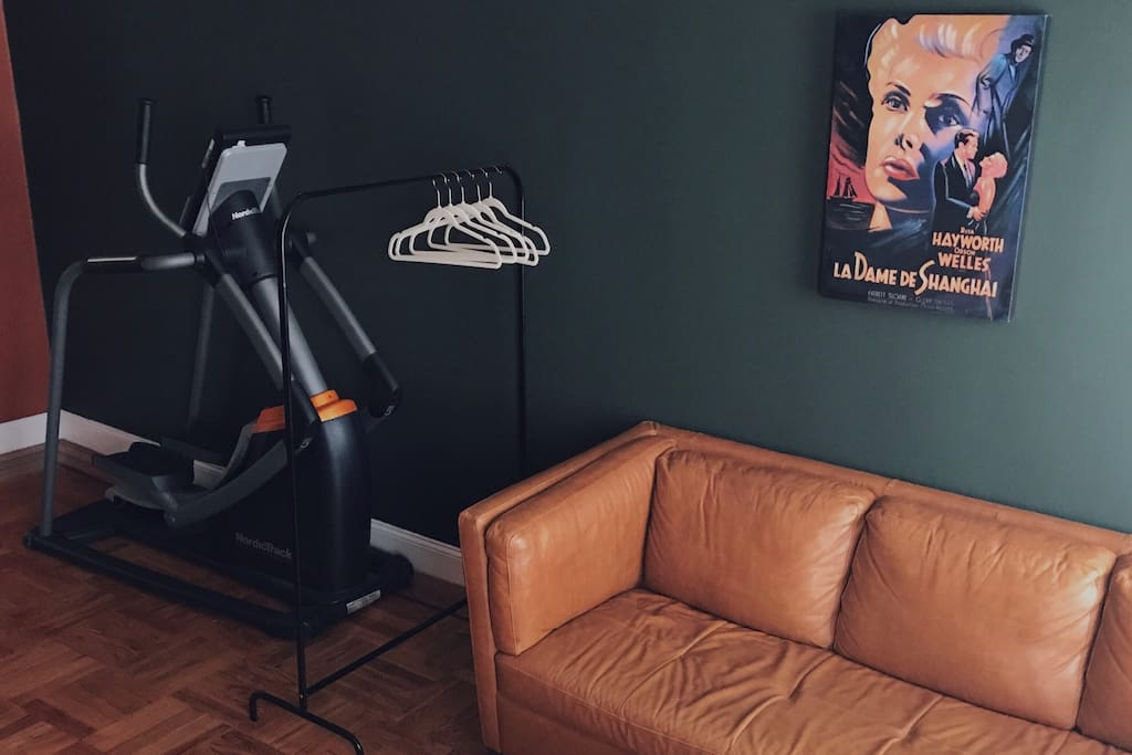Your own big room with a queen-size bed, leather sofa, armchair, working desk and Nordic elliptical trainer :)