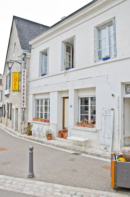 View of Maison Clergeau from across the quiet road. area in front of the house is pedestrianised, ideal for sitting outside for morning coffee or aperitif in the evening