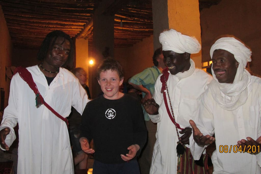 Enjoy the 'craic' with the villages and their wonderful Gnaoua Music.  Wonderful at any age as seen here with a young Irish lad.