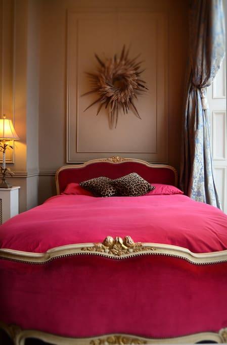 Antique French Kingsize Velvet Bed