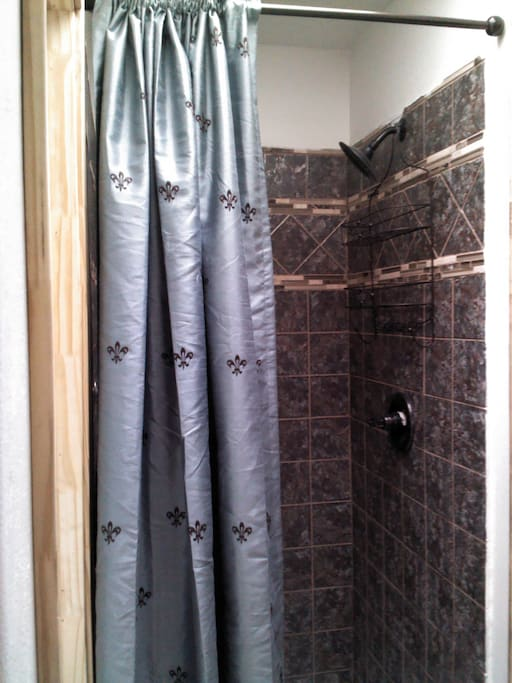 Shower w/ rainfall showerhead.
