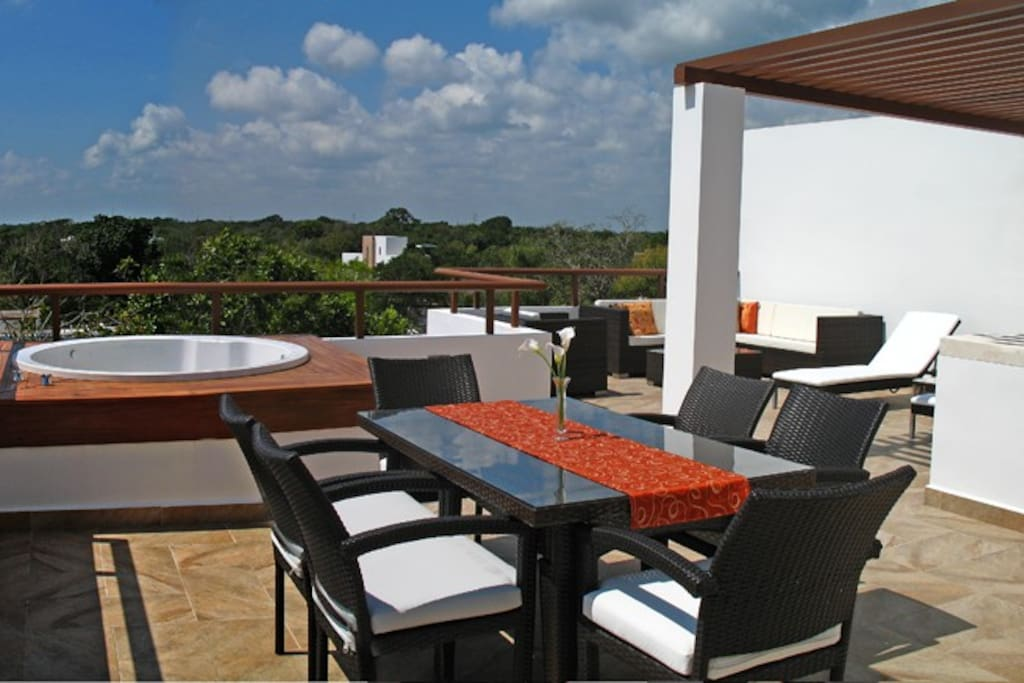 Enjoy all this private space on the upper terrace