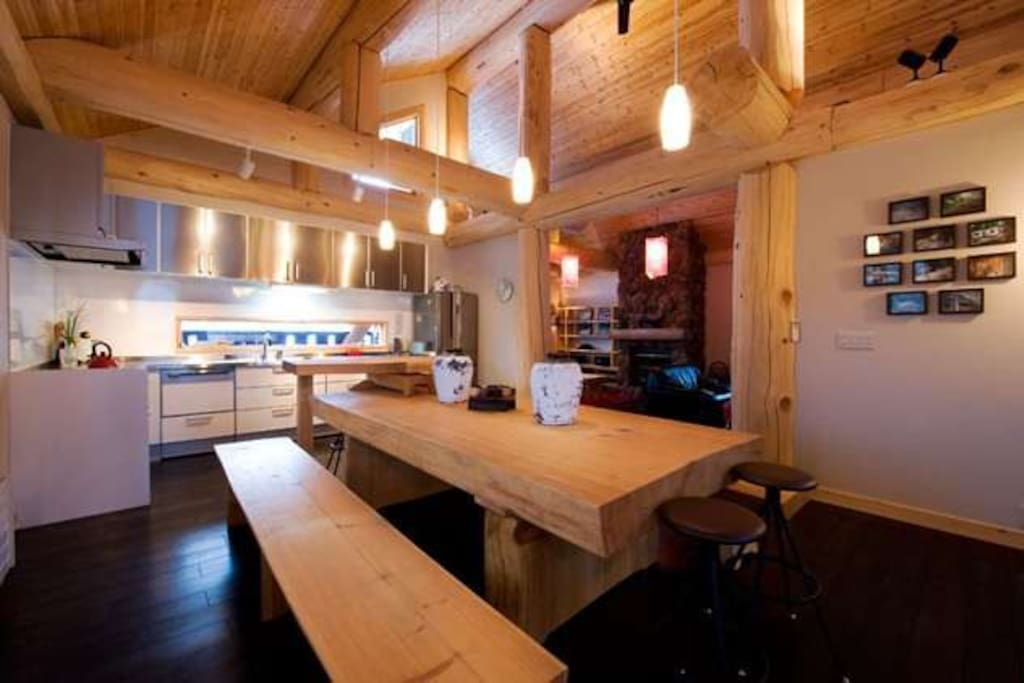Large open kitchen and dining for up to 14 guests