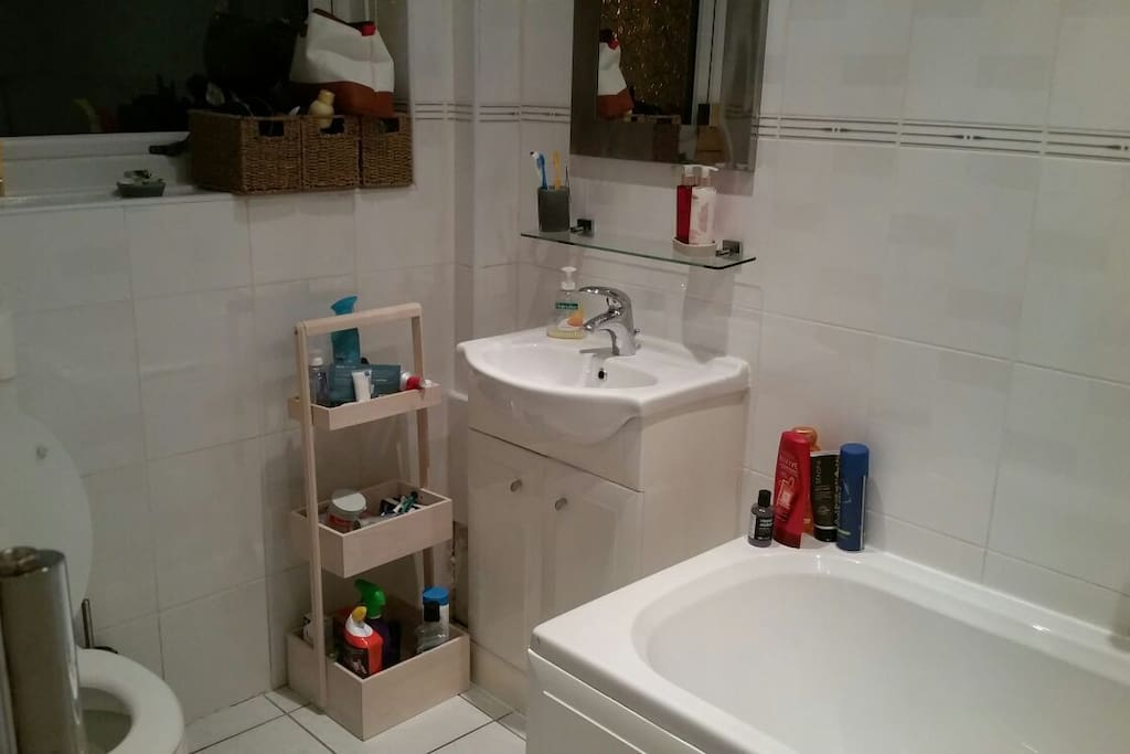 Bath, shower and toiletries available.