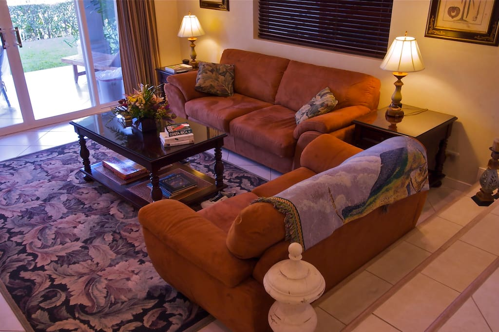 Our living room overlooks the back patio. Both sofas are plush and comfortable napping spots! TV and DVD player with home theater.