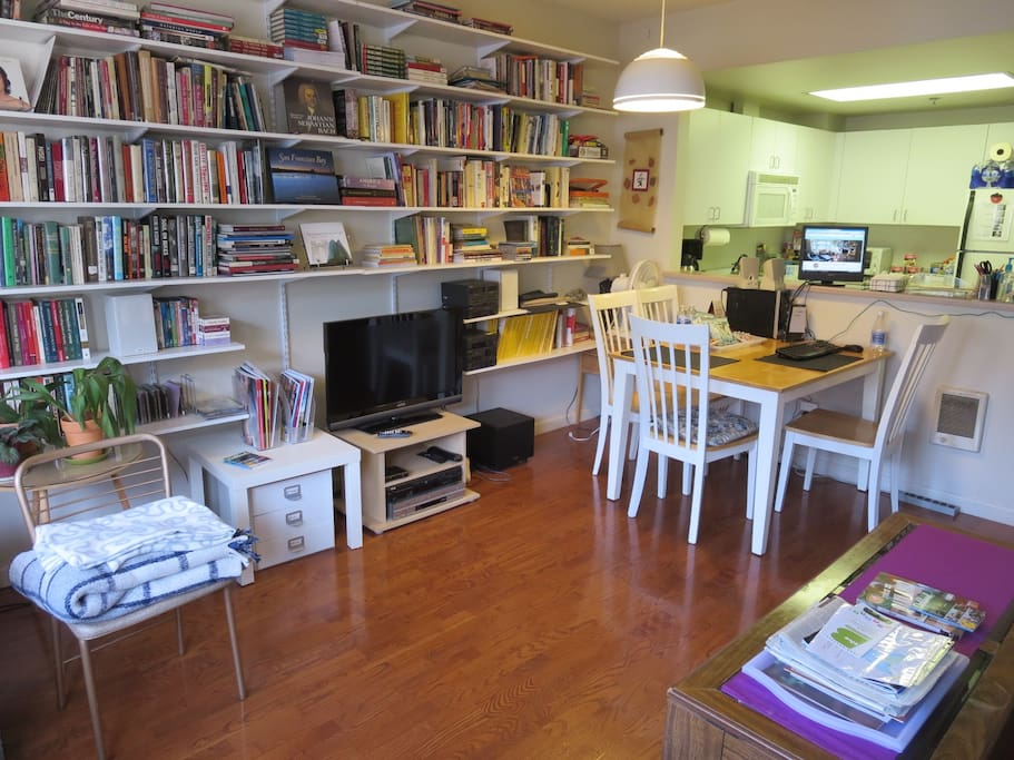 Lots of books and magazines for browsing; WiFi, computer, cable TV, stereo