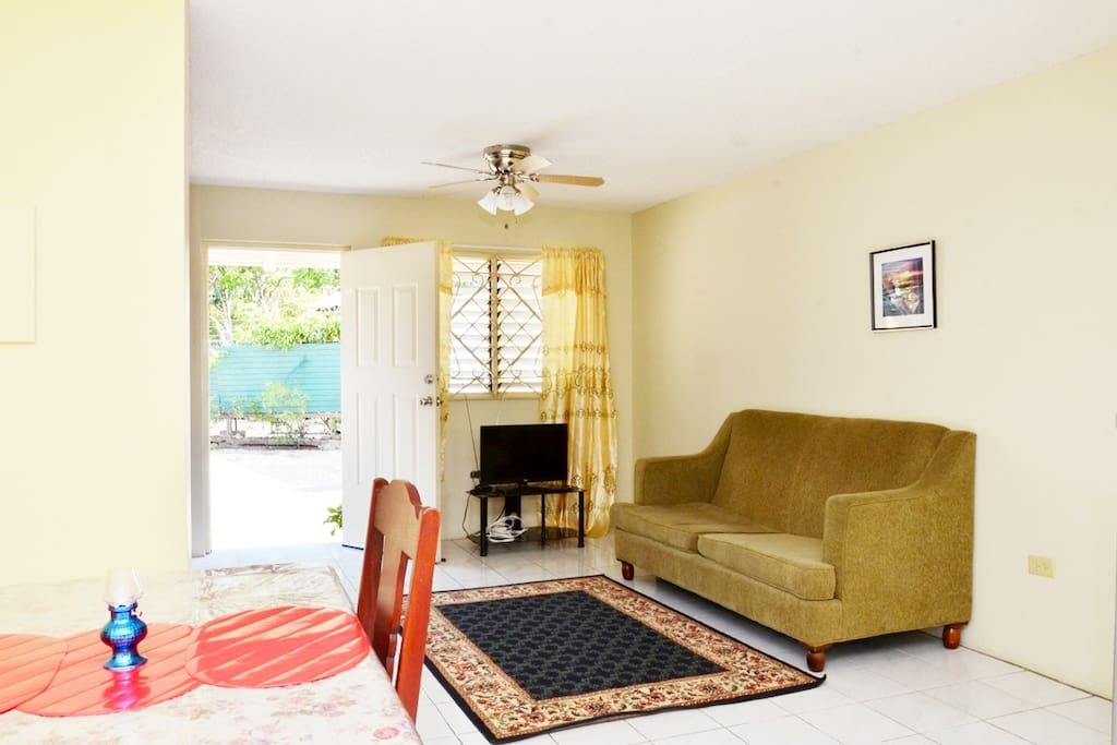 Ceiling fan and tv with 2 local stations in living room. High speed wifi internet throughout house.