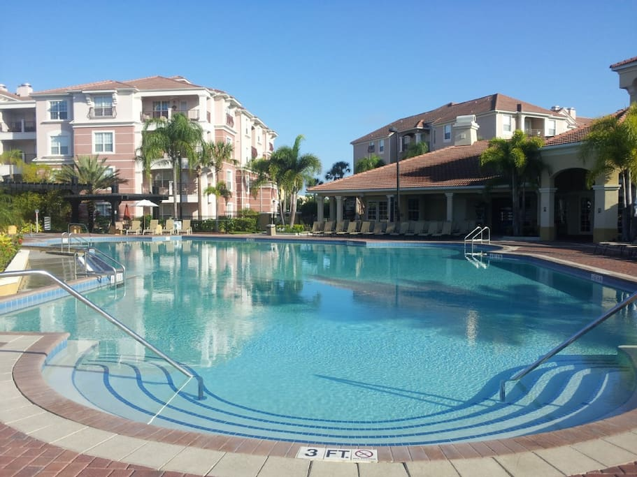 Have access to complete resort amenities including large and smaller pool with hot tub and game room and business center and small store - around the corner from wal-green and then walk to publix from the unit by going out the side gate. :-).