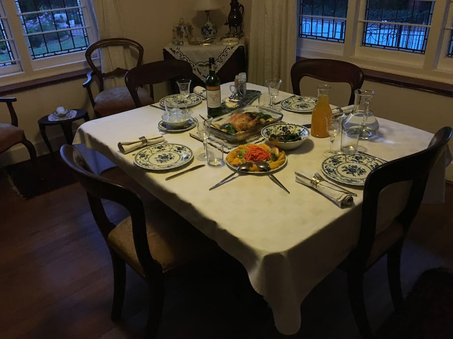 An elaborate continental breakfast is provided and guest can book an evening meal if they wish. Chatter around the table is always lively!