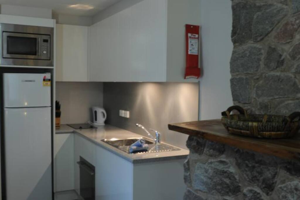 Kitchen with hot plate, microwave, dishwasher, toaster, sandwich grill, coffee machine & milk frother