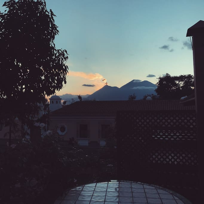 View of volcanos from our gorgeous balcony