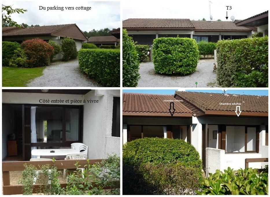 Vue d'extérieur. côté entrée et côté chambres avec chacune une terrasse. tout est de plein pied