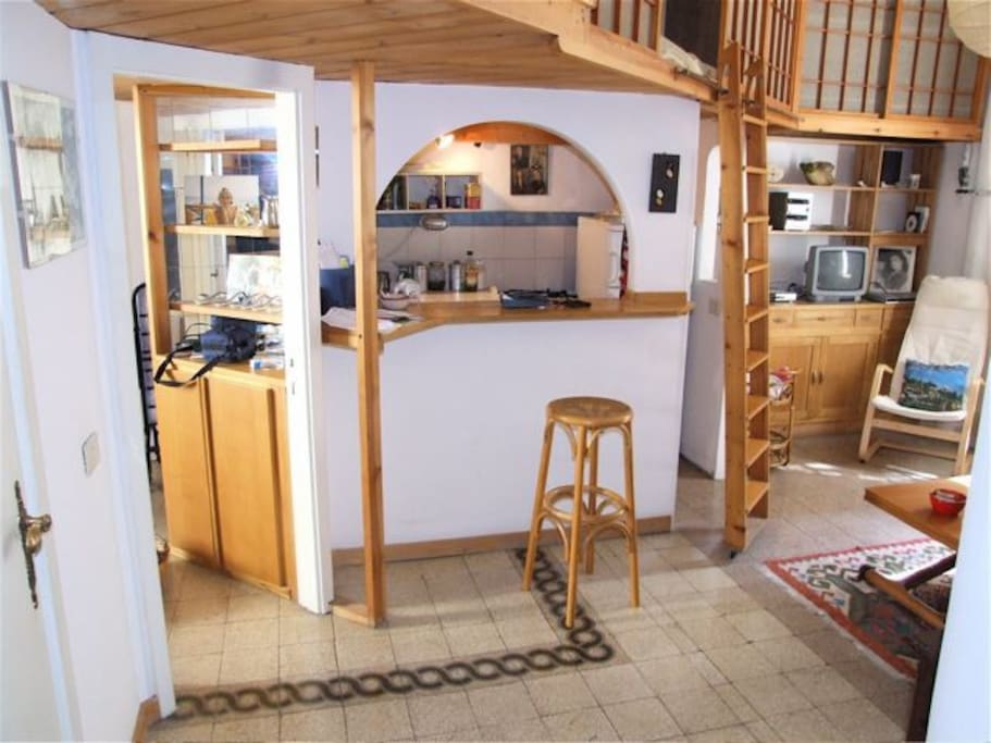 open kitchen in the living area