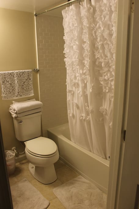 full, private bathroom. Shower/tub with complimentary shampoo and soap