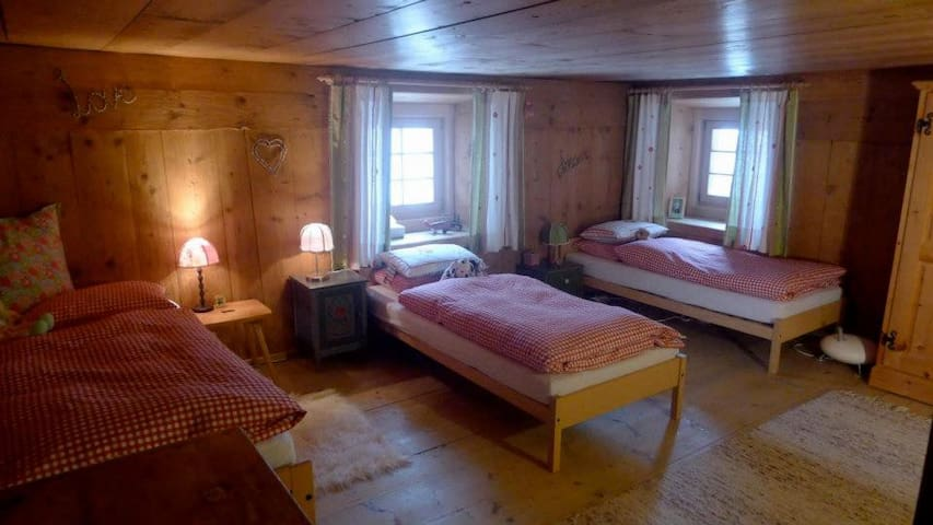 Bedroom 2, there are 4 beds available (1 fold away) and a baby bed.
