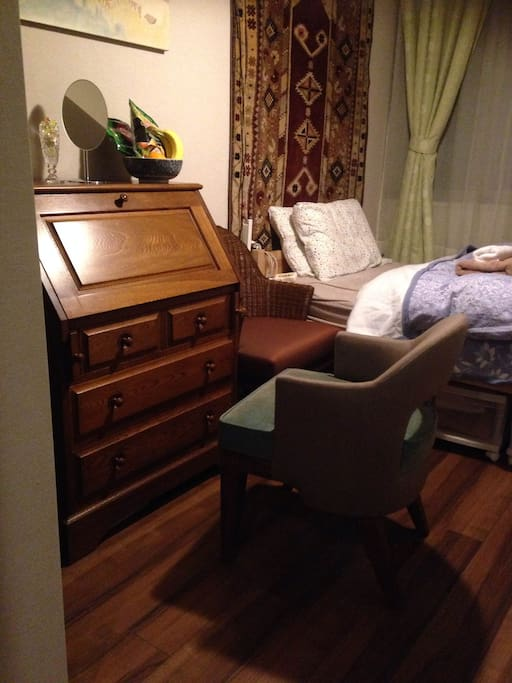 writing bureau is avairable. several drawers are for your clothes and personal belongings.