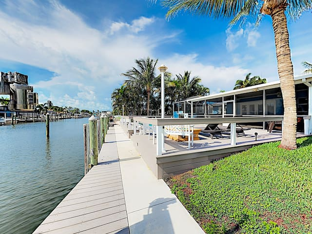 Canal-Front Oasis w/ Pool, Hot Tub & Boat Dock