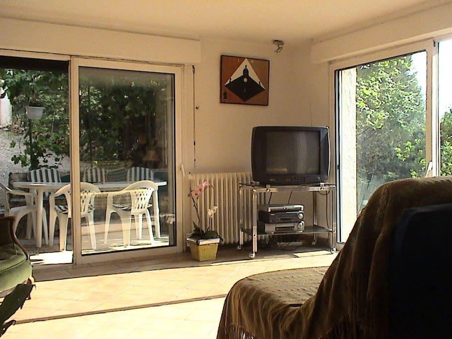 le salon lumineux et sa terrasse ombragée