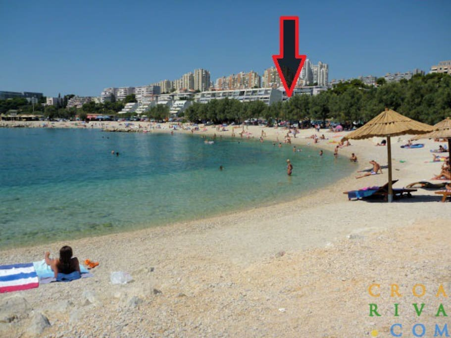 position of the apartments near the most popular beach in Split , beach žnjan .