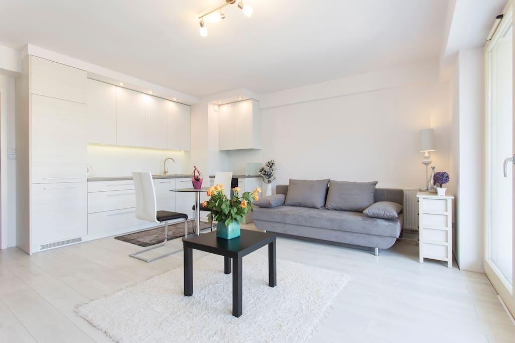 Jasny i przestronny salon z wygodna sofa dla 2 osob