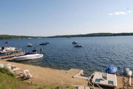 Waterfront home w private beach at Winnipesaukee