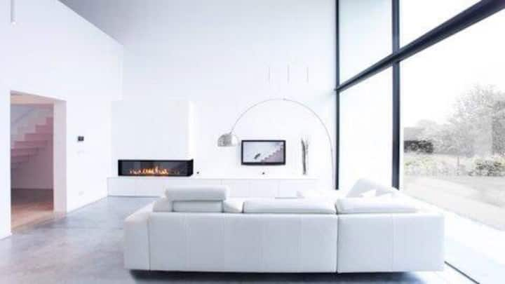 Suite in modern architectural villa.