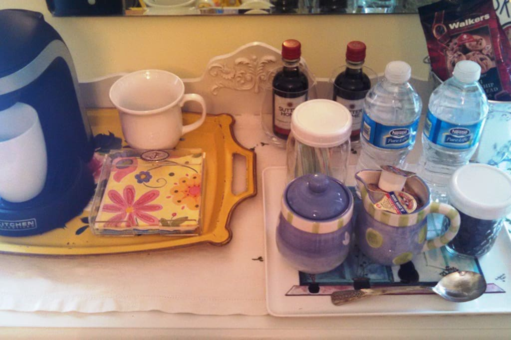 Sample in-room coffee/tea/snack services.  Snacks will vary depending upon availability.