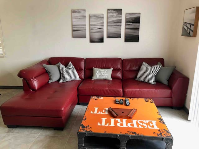 Comfy chaise lounge sectional actually sleeps 2 or use double air mattress.