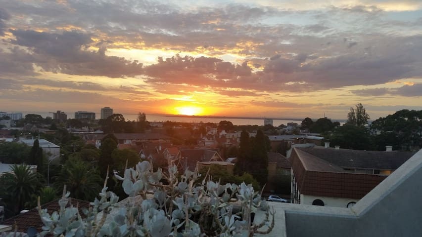 Beautiful sunset view from front balcony.