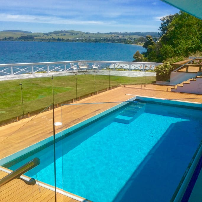 The thermally heated swimming pool is maintained weekly and is totally private.
