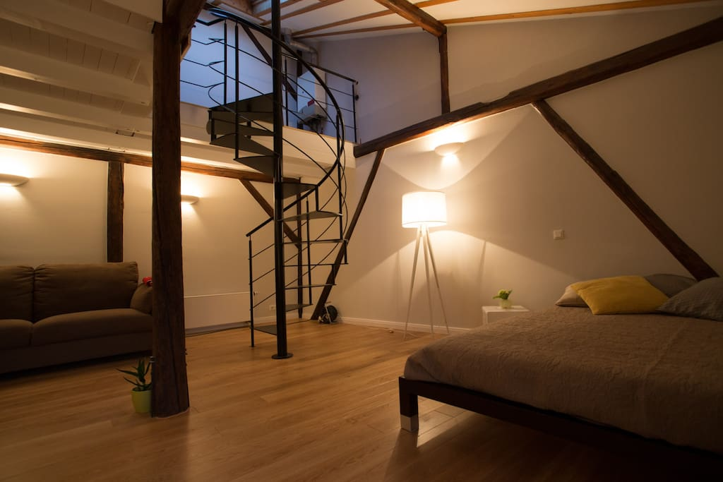 Bed room and living room with spiral staircase