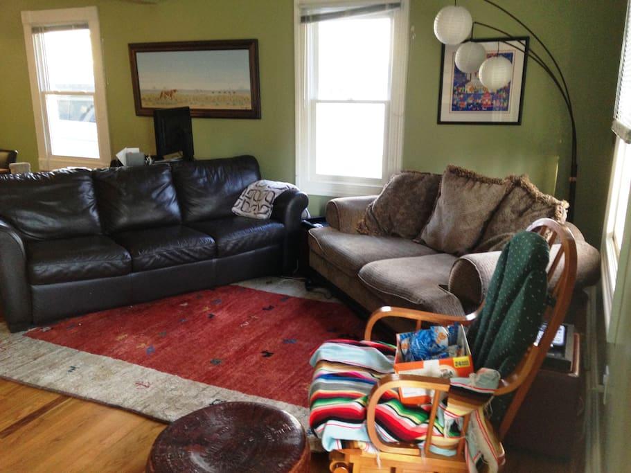 Living Room: Sofas facing the TV