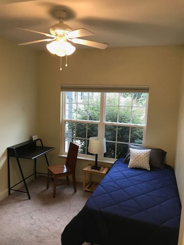 This is your bedroom with a desk and a new twin mattress!