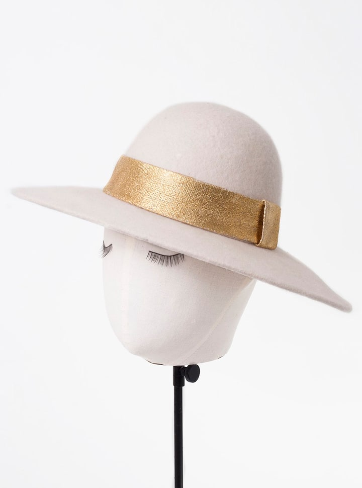 Gold foil hat band decoration, example