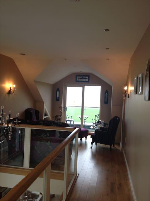 Upstairs lounge area overlooking Galway Bay