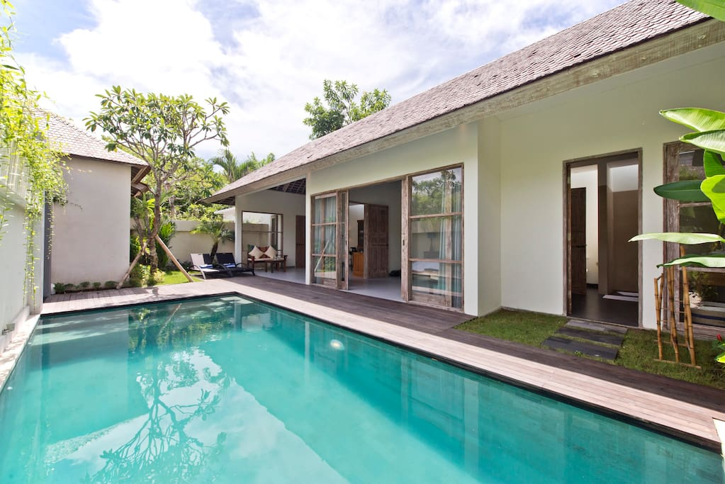 Front view one bedroom villa with pool