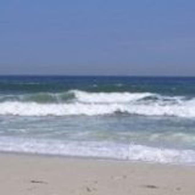 The beach is a few hundred feet away