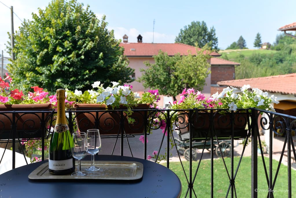 Balcony overlooking the garden and countryside scenery.