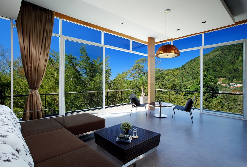 Living area with mountain and sea view