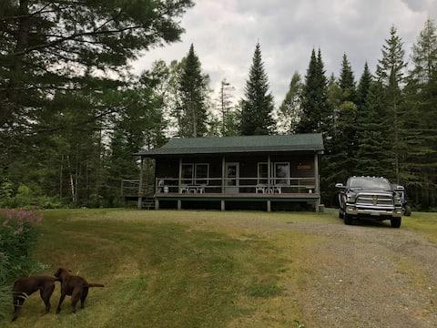 Log cabin near Shin Pond
