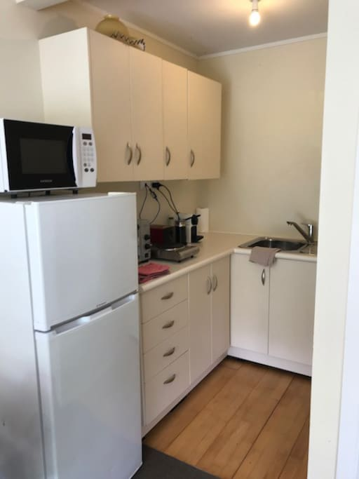 Generous Kitchenette, with Full sized Fridge and Freezer, Storage, Nescafe Espresso machine, microwave, bench top oven and 2 ring cooker. Stocked like a motel room, with Continental Breakfast things (Ceral, yoghurt, fruit, milk Toast with spreads, Coffee and Tea) and the basics for making meals.
