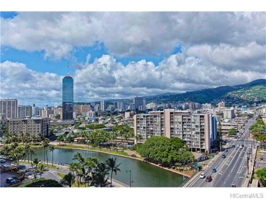 The city of Honolulu from your balcony.