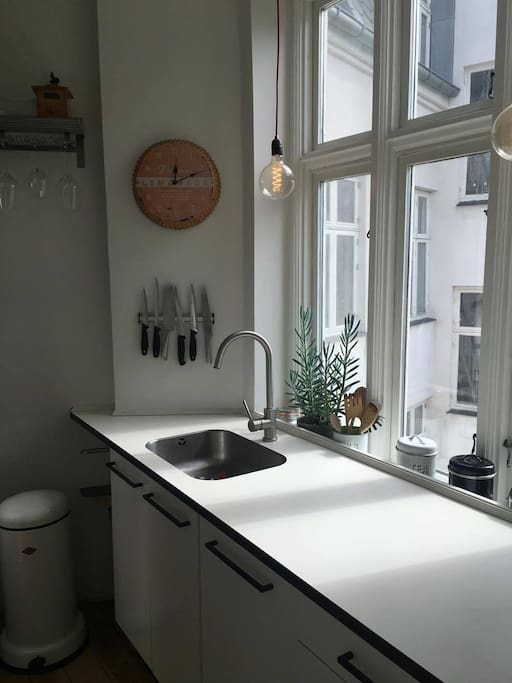 Kitchen with dishwasher.