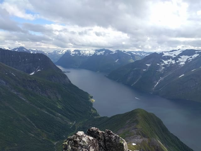 View from Trandalhatten, our signature mountain, over the Hjørundfjord towards Sæbø.