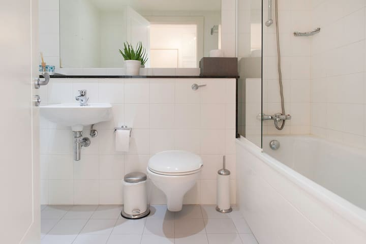 Modern clean bathroom with shower and toilet facilities