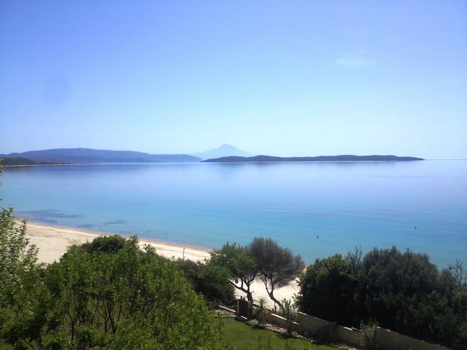 view to Ammouliani island + Athos mountain