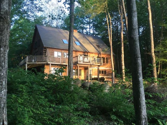 Quiet room in log cabin home.